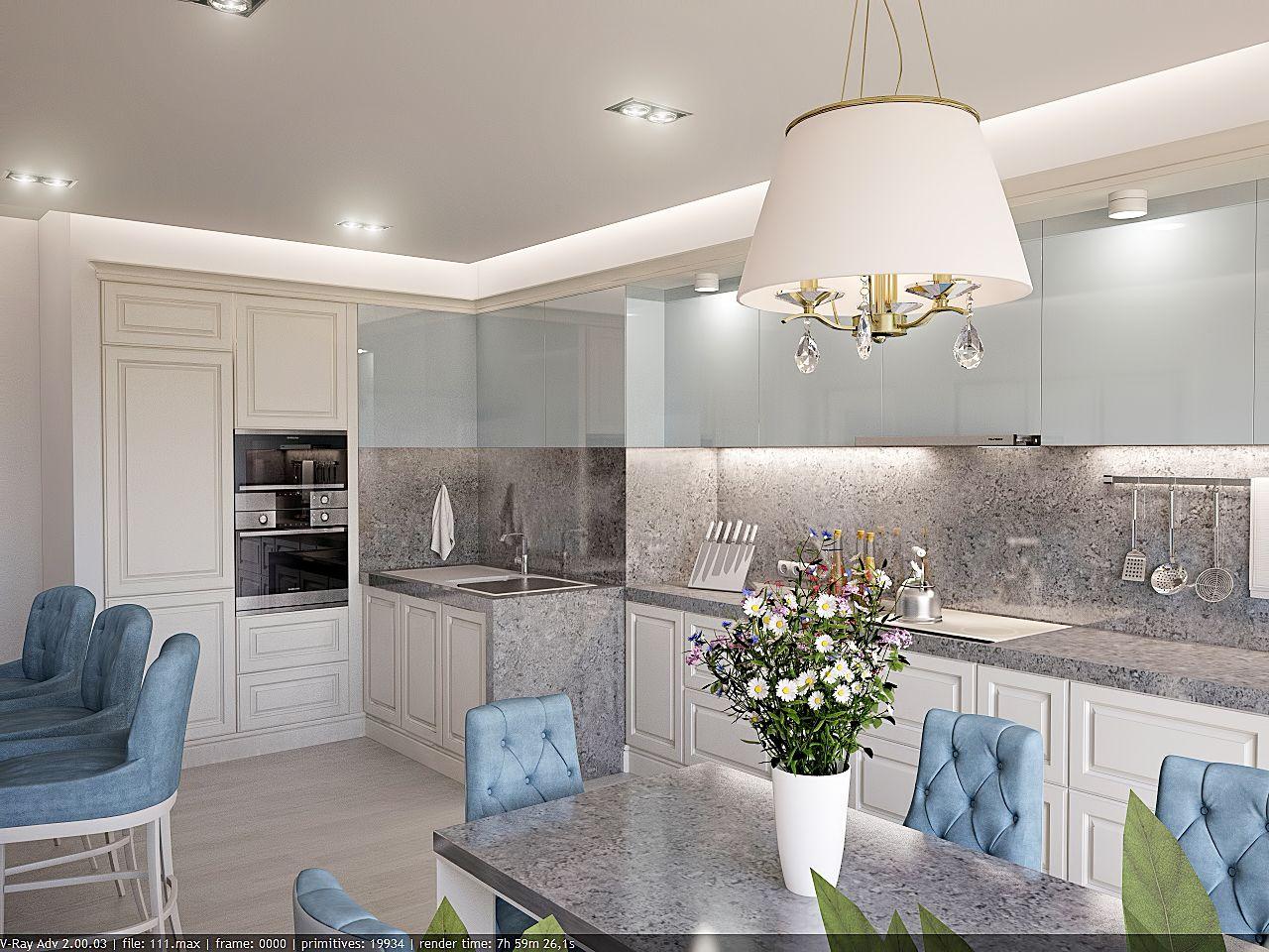 Дизайн кухни в квартире Киев стиль прованс, легкая класика, стулья стол