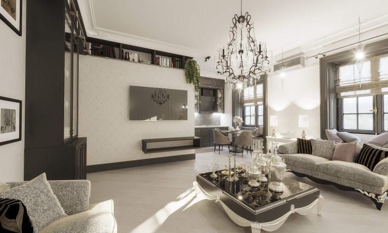 Дизайн интерьера классический стиль, английский стиль, фото киев, квартира 9