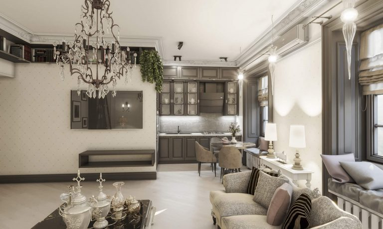Дизайн интерьера классический стиль, английский стиль, фото киев, квартира 10