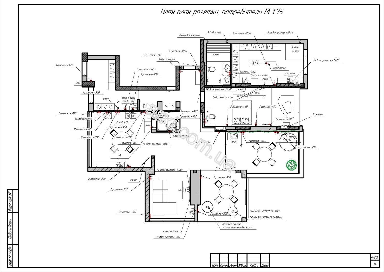 Дизайн проект интерьера квартиры пример фото киев план розеток