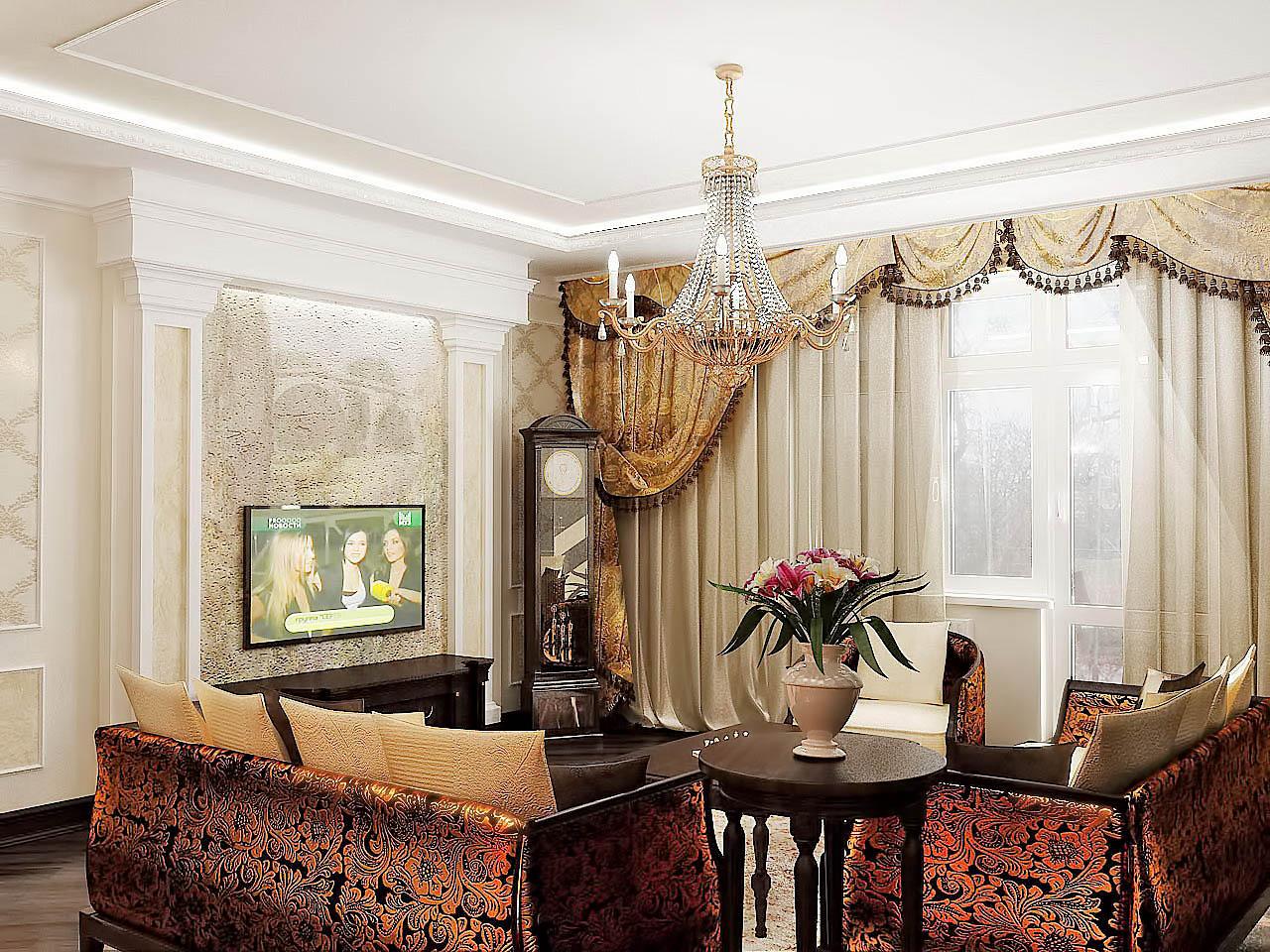 Дизайн интерьера гостиной классика киев фото телевизор роспись стен, фрески