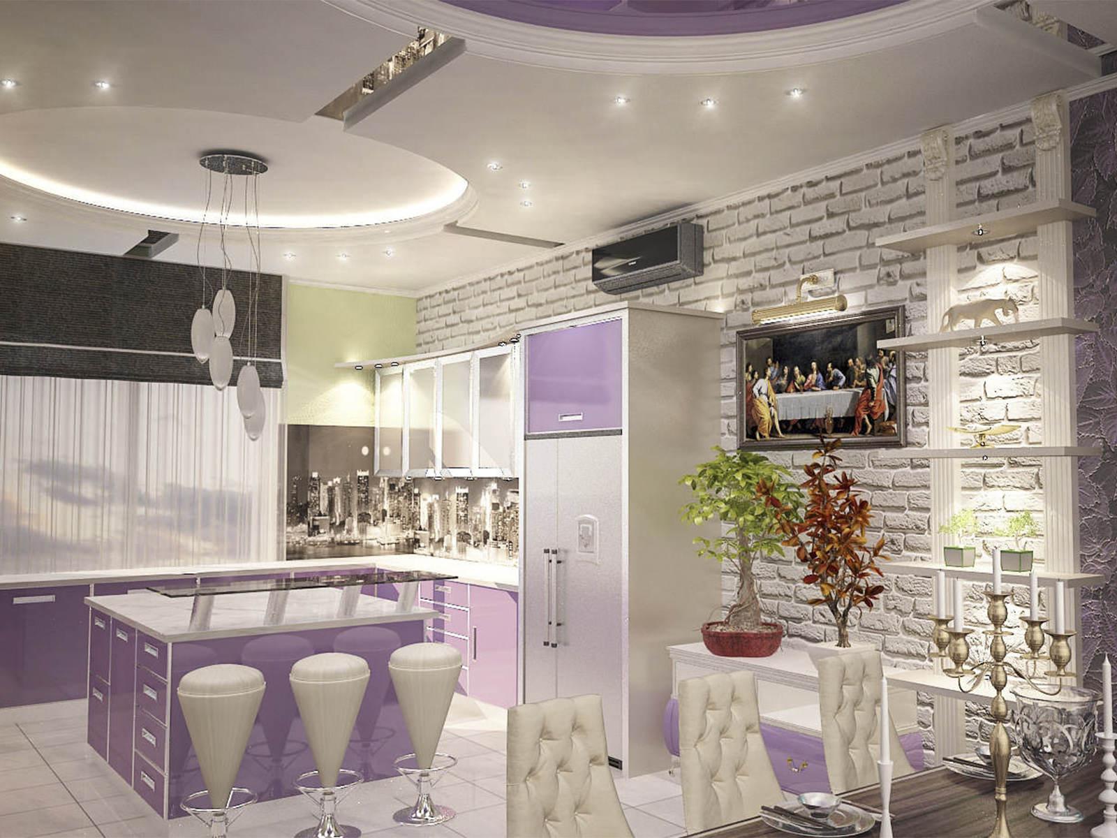 Дизайн интерьера современный стиль кухня и гостиная, стол и барные стулья, модерн