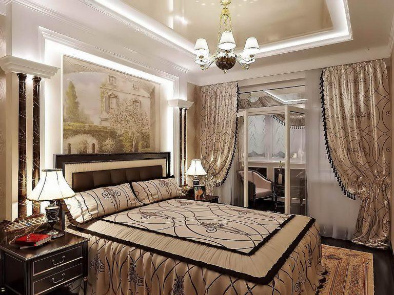 Дизайн интерьера спальня в классике фото