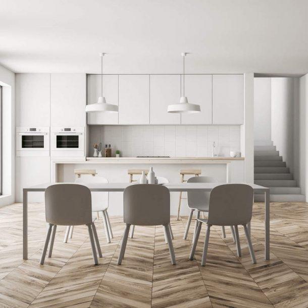 дизайн интерьера кухня гостиная, скандинавский стиль, стол и стулья, белый цвет
