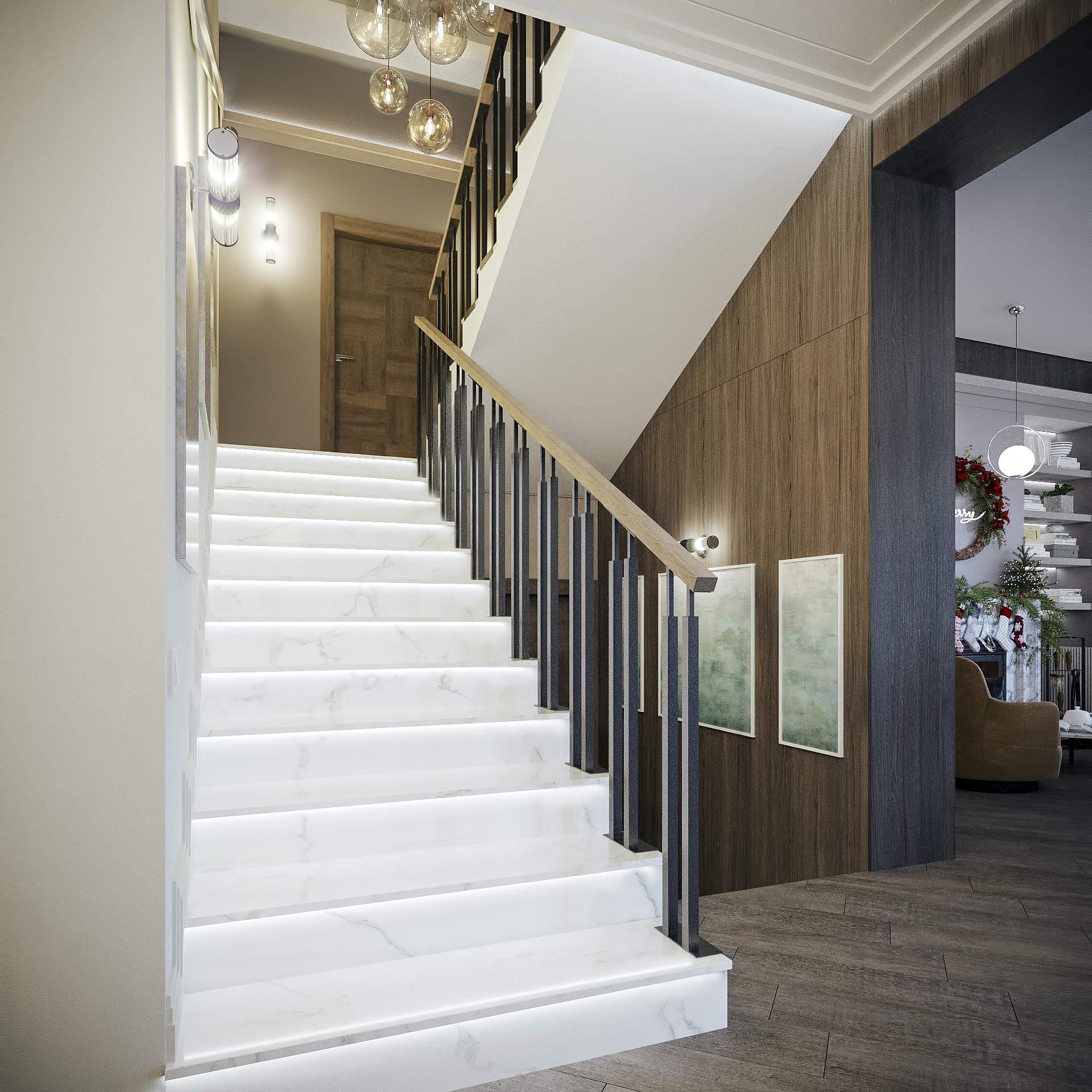 Дизайн лестницы в современном стиле
