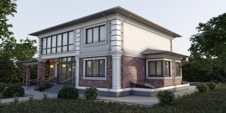 дизайн фасада дома в легкой классике