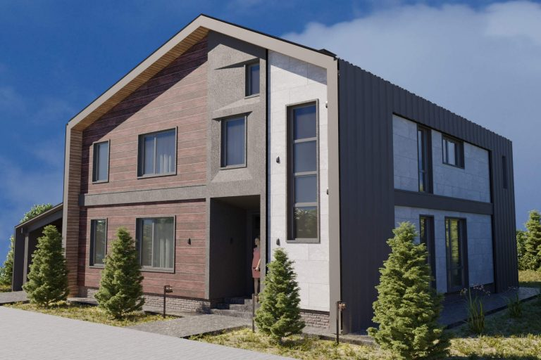 дизайн современного фасада с фальцевой крышей