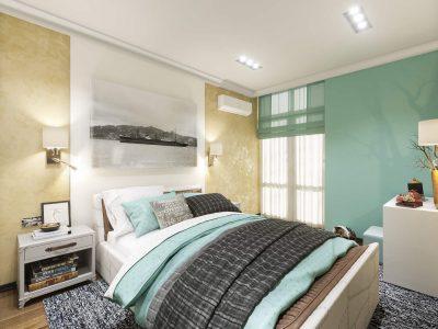 Дизайн спальни Киев декор над кроватью, панели, картина на стене, покраска, штукатурка, новые идеи, фото